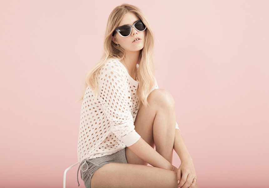 Sweater by C&M Camilla and Marc. Bikini Bottom by Bassike. Sunglasses by Prism. Jewellery by Petite Grand.