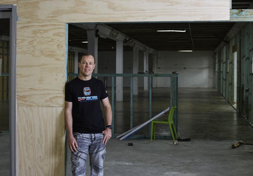 Stephen Holmes at 1UP Arcade's Morningside premises.
