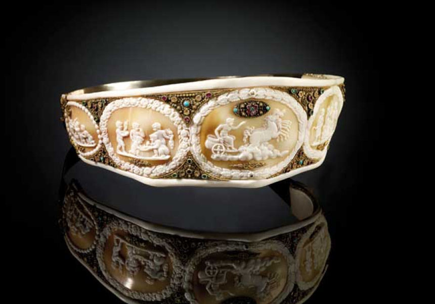 Empress Josephine's shell cameo diadem, presented to her by her brother-in-law Joachim Murat