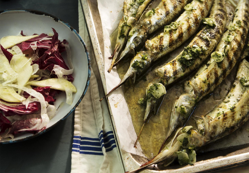 Cooke's barbequed garfish recipe from The Atlantic cookbook