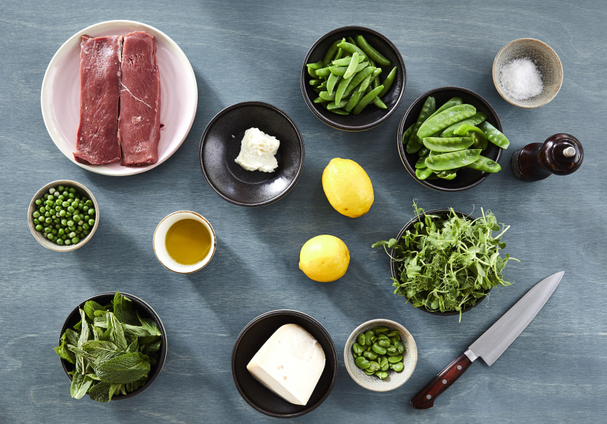Ingredients for Lamb, Broad Bean and Pea Salad with Double Goat's Cheese