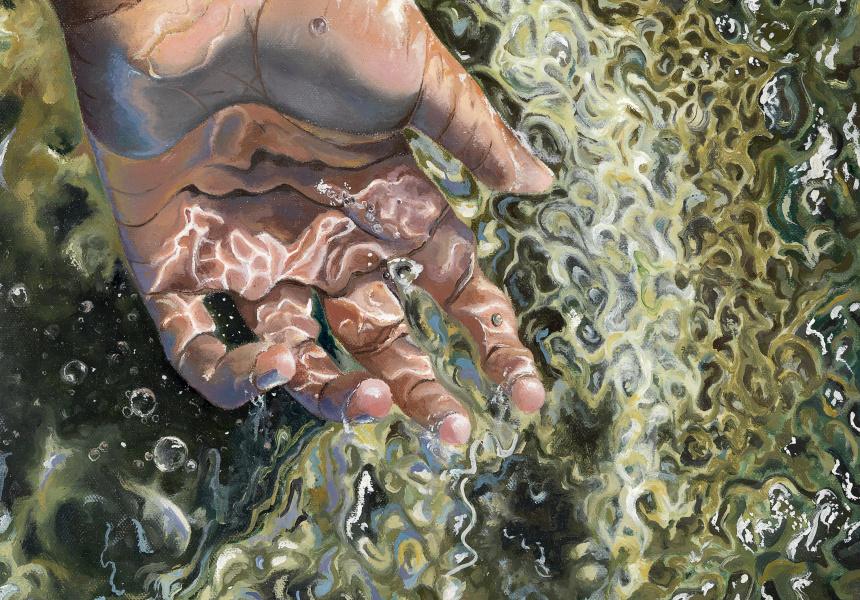 Tasmia Islam Holding Life 2019 oil on canvas 35.56 x 35.56 cm Suzanne Cory High School © Tasmia Islam