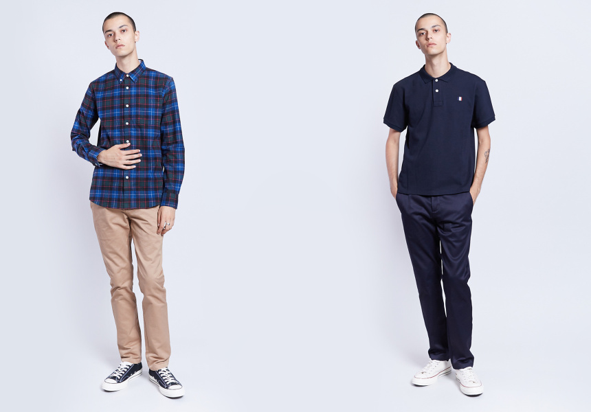 Left: Weathered Shirt, Outerknown Pants, Converse Sneakers  Right: Ami Polo, APC Pants, Converse Sneaker