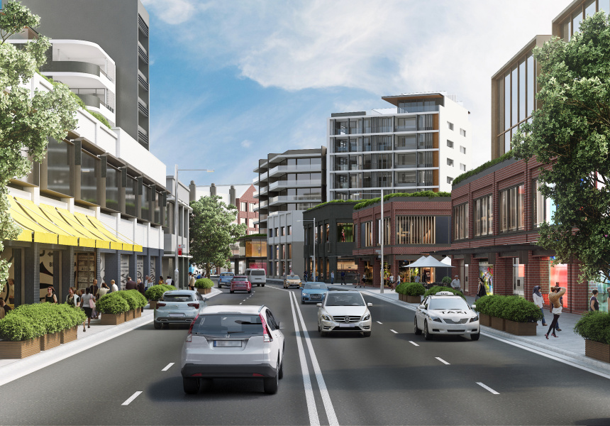 Artist's impression of a redeveloped Pyrmont Bridge Road at Parramatta Road