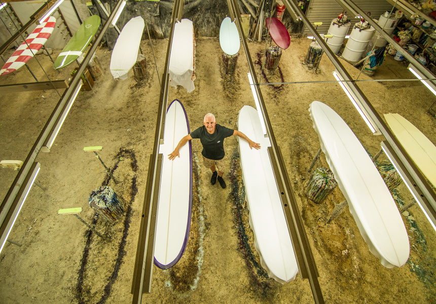 Bob McTavish in his Byron Bay surfboard factory.