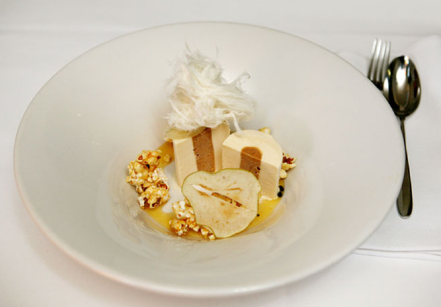 Duo of Pear and Caramel Parfait, Passionfruit Syrup and Salted Popcorn at Ezard.