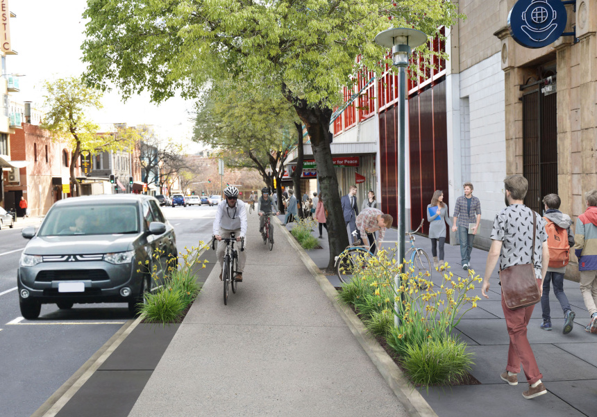 Artist's impression of the new Frome Street bikeway