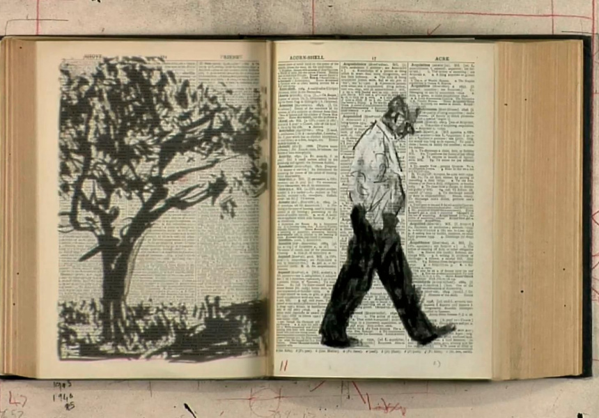 William Kentridge, South Africa, born 1955, Second-hand reading, 2013, Johannesburg, South Africa, HD video (colour, sound), 7:01 min; Collection of Naomi Milgrom AO, Art Gallery of South Australia, Adelaide, Courtesy the artist.