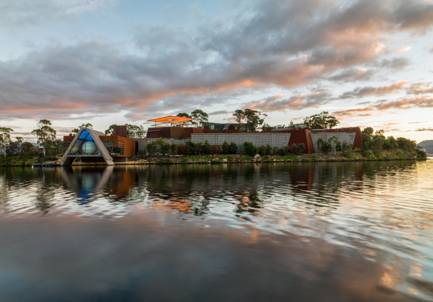Mona, Sunrise with pharos. Image courtesy of the artist and MONA Museum of Old and New Art, Hobart, Tasmania, Australia