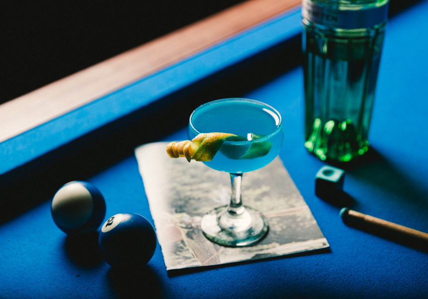 "Dave Kerr chose to replace the Cointreau with Blue Curacao to create ""The Corpse Reviver Number Blue""."