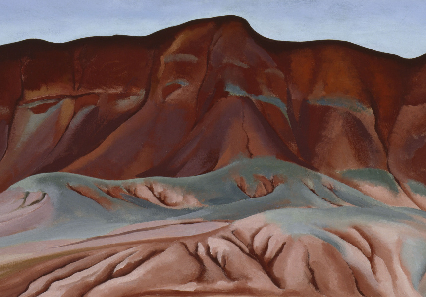 Georgia O'Keeffe: Purple Hills Ghost Ranch - 2 / Purple Hills No II, 1934. Oil on canvas affixed to masonite. 41.3 x 76.8 cm. Georgia O'Keeffe Museum. Gift of The Burnett Foundation. © Georgia O'Keeffe Museum