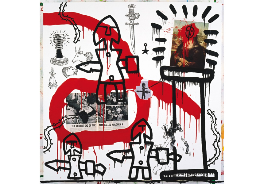 Keith Haring Malcolm X 1988 acrylic, enamel, and collage on canvas 152.4 x 152.4 cm Private collection © Keith Haring Foundation