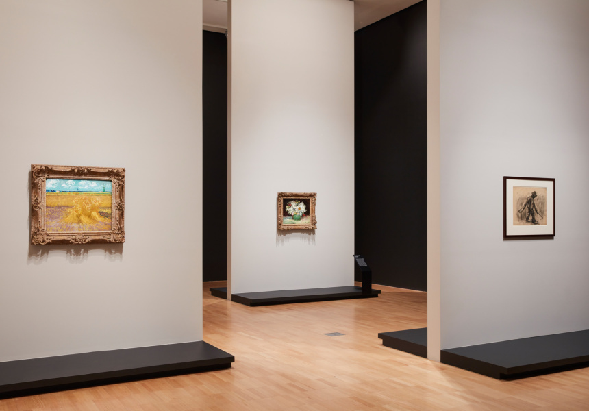 Installation view of Van Gogh and the Seasons at the National Gallery of Victoria
