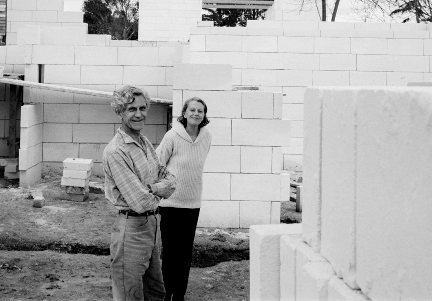John and Sunday in the half-built Heide II
