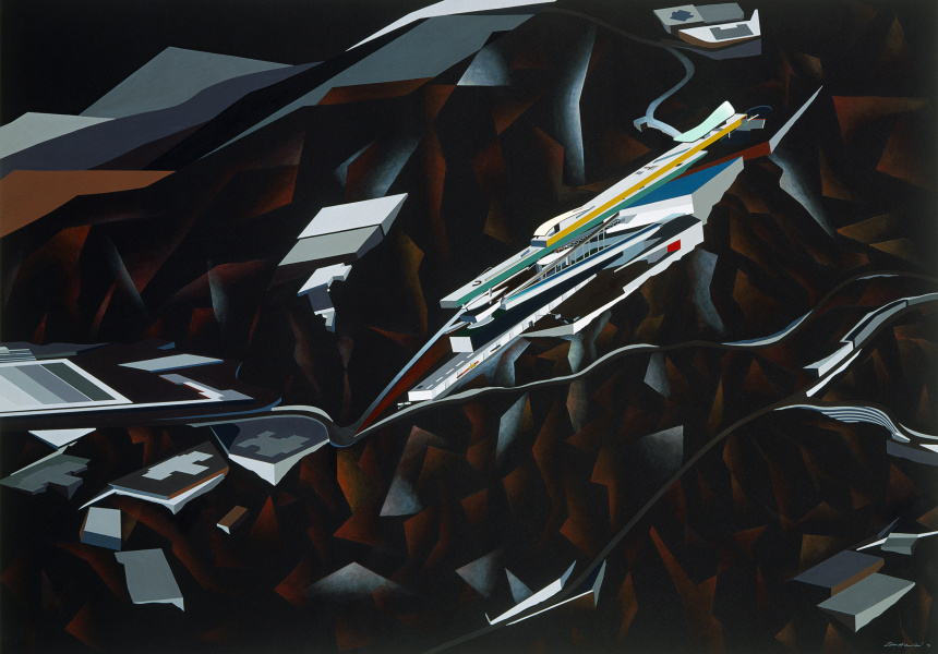 Zaha Hadid British, born Iraq 1950–2016 The Peak Project, Hong Kong, China (exterior perspective) 1991 synthetic polymer paint on paper mounted on canvas 129.5 x 182.9 cm The Museum of Modern Art, New York David Rockefeller, Jr. Fund, 1992 © Zaha Hadid Foundation
