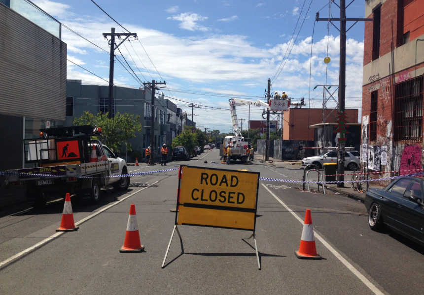 The scene outside PBS FM radio station in Collingwood on Wednesday afternoon, January 20.