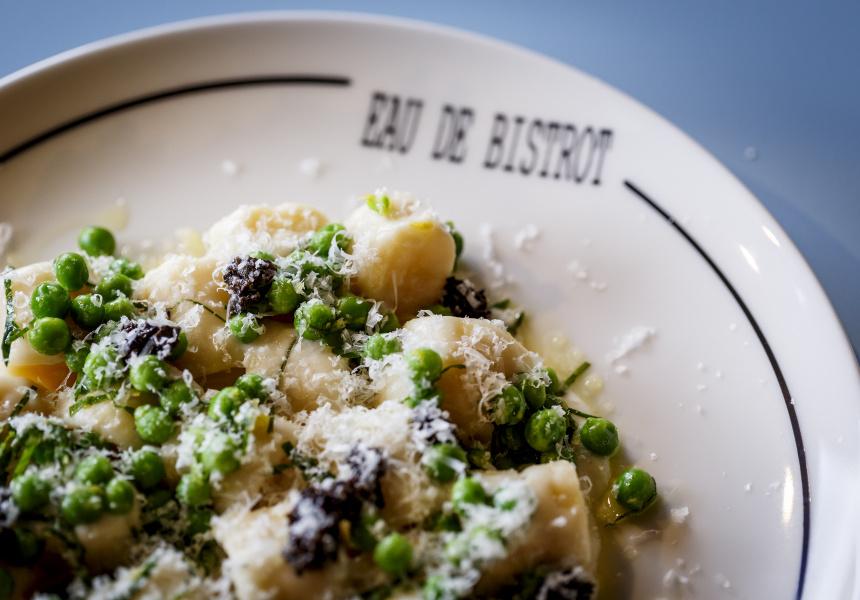 Ricotta gnocchi, truffles, peas, cream
