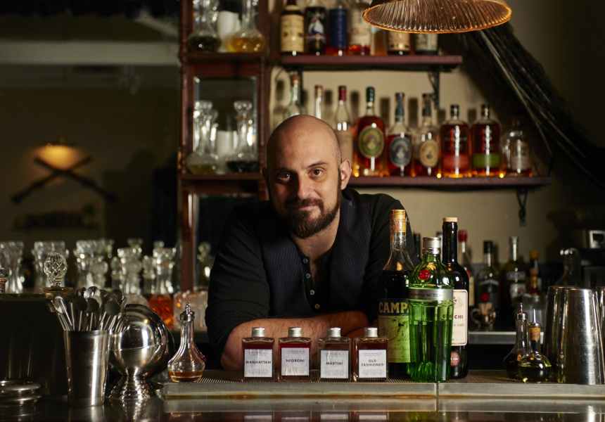 Michal Madrusan of The Everleigh works on creating the Negroni for his bottling range.