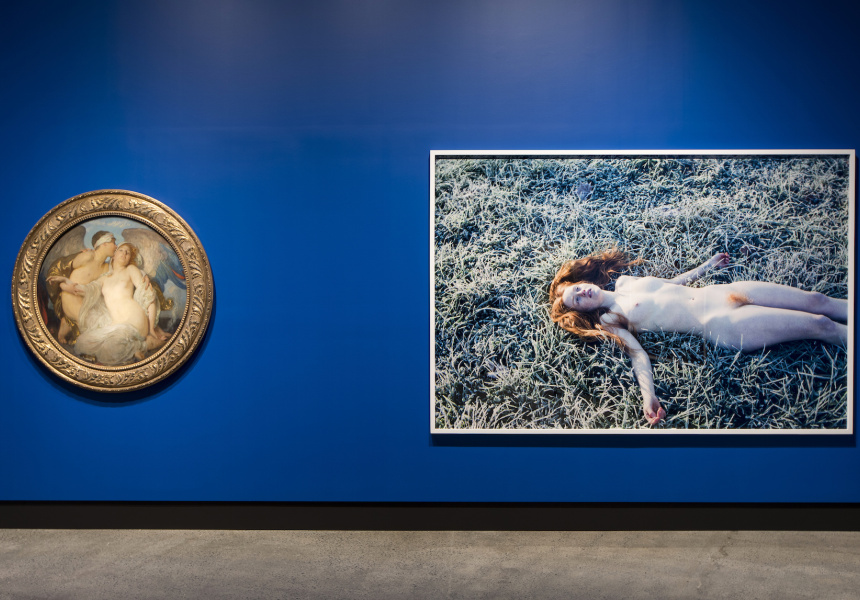 Left: Eros c. 1921 Solomon J. Solomon  Oil on canvas  Right: India (Frost) 2013   Ryan McGinley   Type-C photograph  Image Courtesy Mona, Museum of Old and New Art, Hobart, Tasmania, Australia
