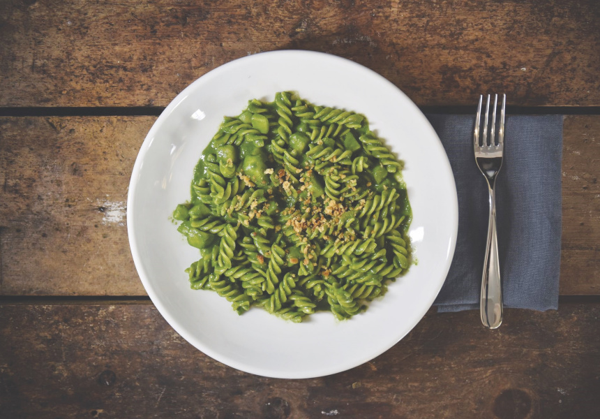 Massimo Bottura's fusilli with basil pesto