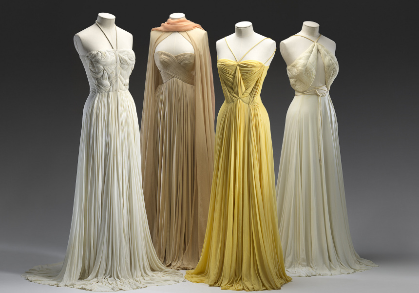 ALIX, Paris, (couture house) 1934–42 Madame GRÈS (designer) French 1903–93 Evening dresses, 1939 spring-summer– c.1980, Silk (jersey) measurements variable National Gallery of Victoria, Melbourne Purchased with funds donated by Mrs Krystyna Campbell-Pretty, 2015