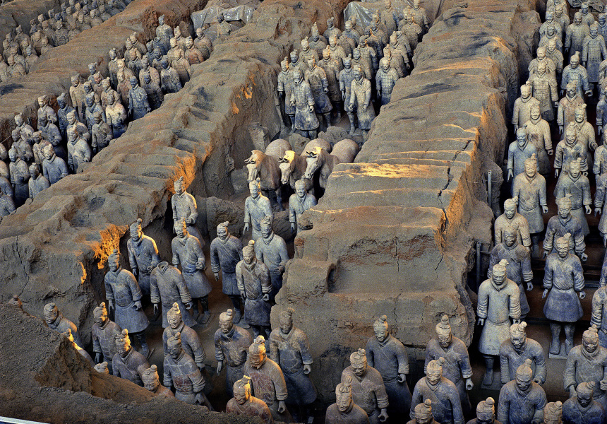 CHINESE The terracotta army Qin dynasty (221-206 BCE) (detail) Earthenware (terracotta) Emperor Qin Shihuang's Mausoleum, Xi'an
