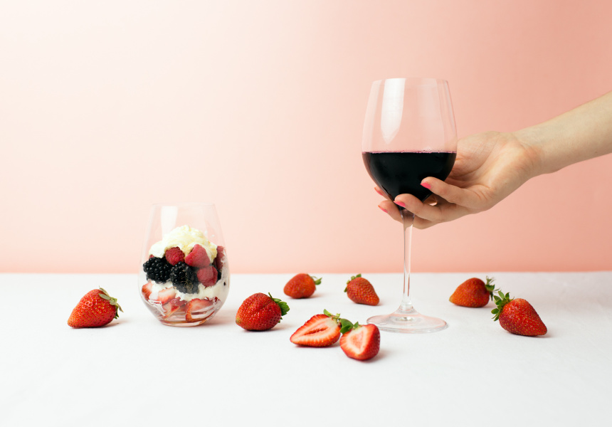A chilled, fruit red can be a fine accompaniment to dessert.