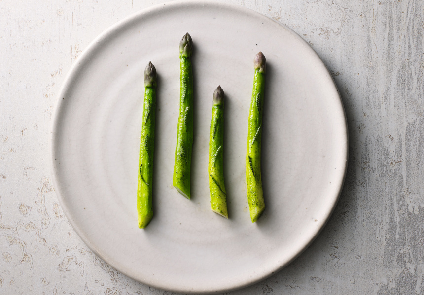 Asparagus, olive plant and sea butter