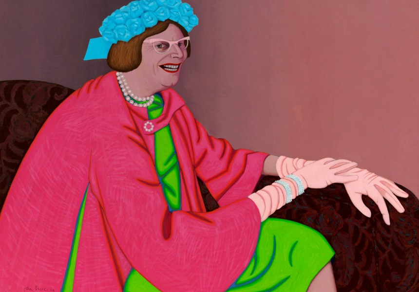 John Brack Barry Humphries in the character of Mrs Everage 1969 oil on canvas, 94.5 x 128.2 cm Art Gallery of New South Wales Purchased with funds provided by the Contemporary Art Purchase Grant from the Visual Arts Board of the Australia Council 1975 © Helen Brack