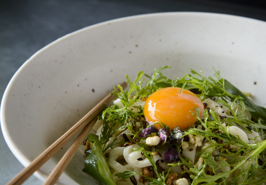 Supernormal Natsu. Hand rolled chilled udon noodles, summer herbs and soft egg.