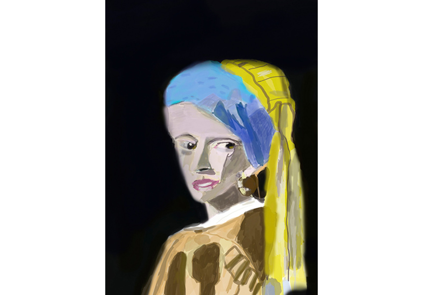 Not titled (after Girl with a Pearl Earring by Johannes Vermeer), Bobby Kyriakopoulos (2014)