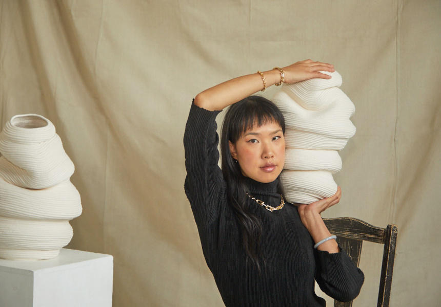 Zhu Ohmu with coiled vessels, courtesy of the artist and Gallery Sally Dan-Cuthbert