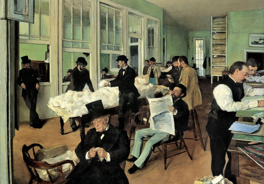 Edgar Degas A cotton office in New Orleans 1873 oil on canvas 73 x 92 cm Musee des Beaux-Arts, Pau (878.1.2) © RMN-Grand Palais / Michelle Bellot / Madeleine Coursaget