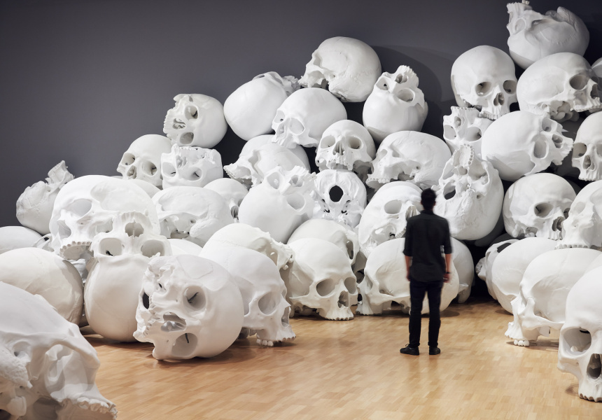 Installation view of Mass by Ron Mueck, 2017. On display at NGV for NGV Triennial.