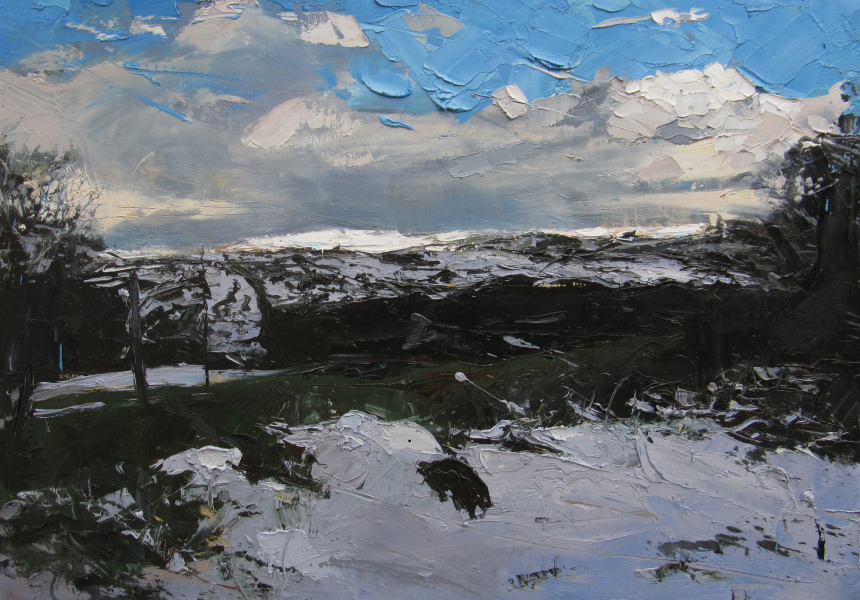 Hester Berry, After a flurry of snow, 2018, Oil on board, 100x70