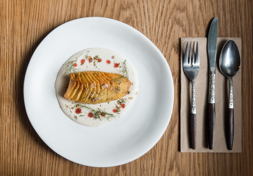 Hasselback Potato and Cod.