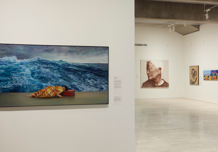 Installation view of the 'Archibald, Wynne and Sulman Prizes 2021' exhibition at the Art Gallery of New South Wales, 5 June – 26 September 2021.