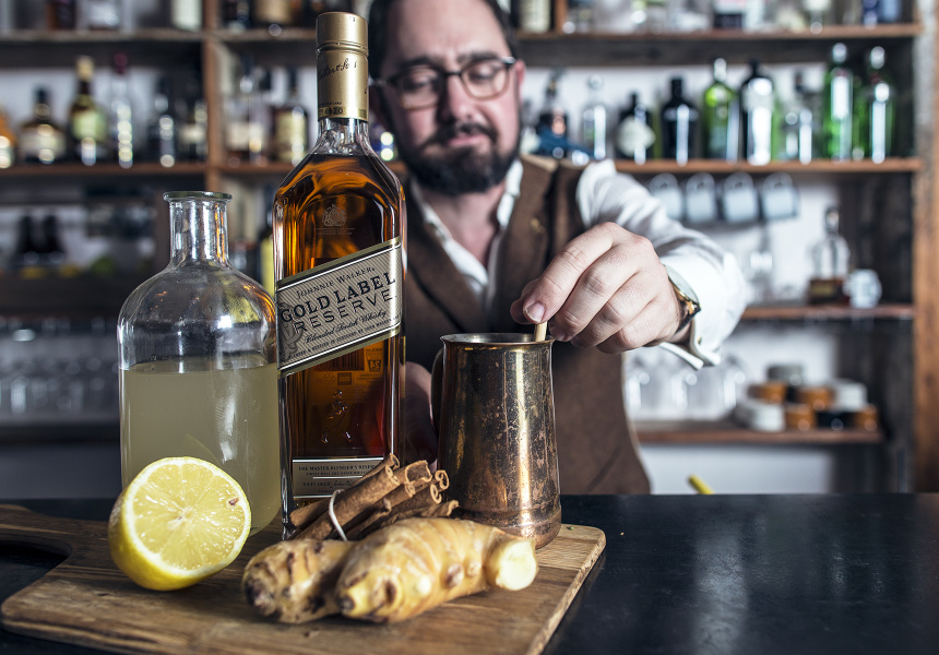 Sean Baxter putting together his twist on the Hot Toddy, Elwyn's Ginger Elixir
