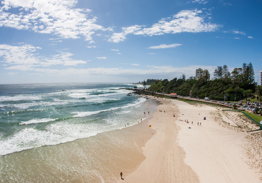 Kirra Beach, with Greenmount and Snapper Rocks in the distance.