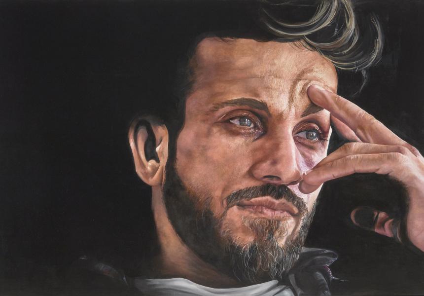 Jeremy Eden, Firass, oil on canvas, 120.2 x 180.4cm. © the artist. Sitter: Firass Dirani
