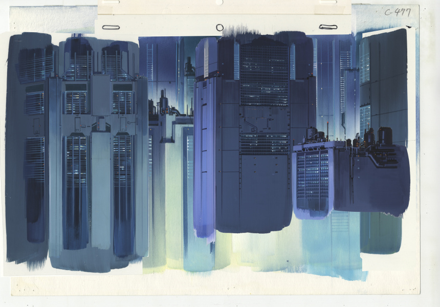 Background for Ghost in the Shell (1995), cut 477. Gouache on paper and acrylic on transparent film, 270 x 390 mm.
