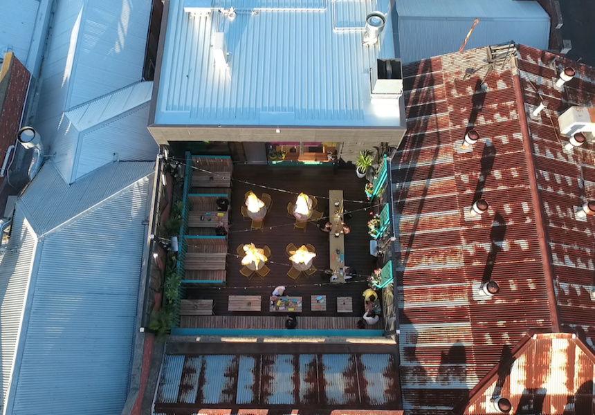 View of the new Fonda Mexican rooftop bar from a drone