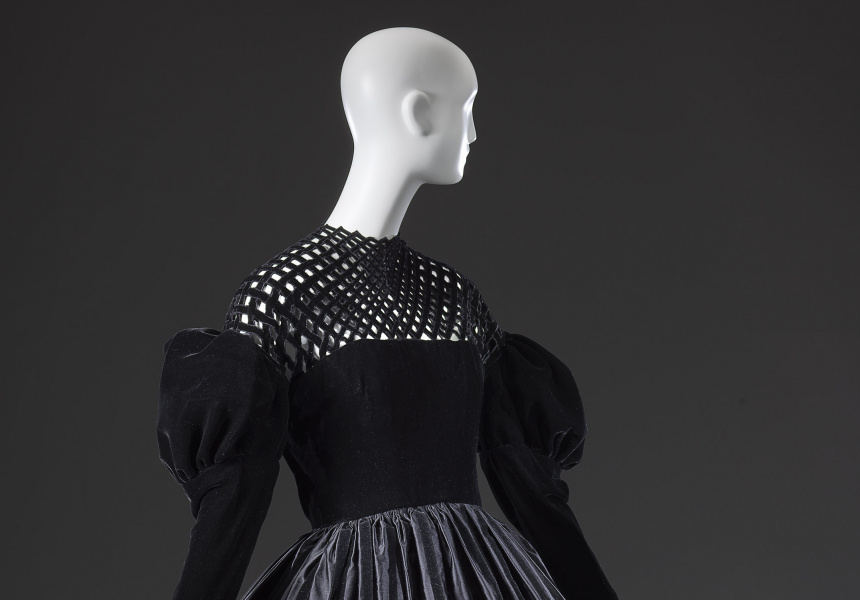 Christian Lacroix, Paris (couture house) Christian Lacroix (designer) Dress 1987 autumn−winter silk, metal (fastening, hooks and eyes) 92.5 cm (centre back) 36.0 cm (waist, flat), National Gallery of Victoria, Melbourne Gift of Krystyna Campbell-Pretty, 2018 (2018.324) © Christian Lacroix