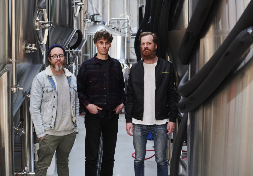 Left to right: Heaps Normal co-founders Peter Brennan, Ben Holdstock and Andy Miller
