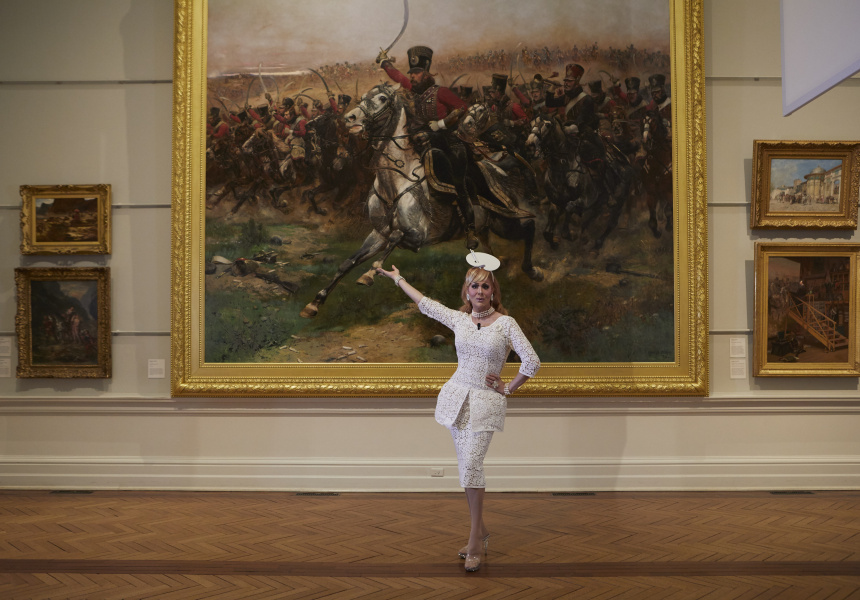 Verushka Darling with Edouard Detaille's Vive l'Empereur! 1891, Art Gallery of New South Wales, purchased 1893.