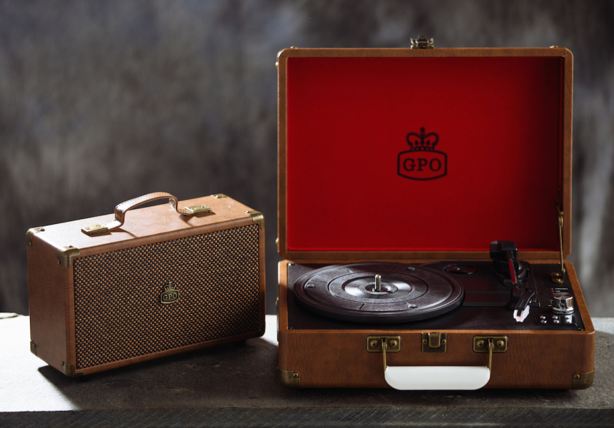 Rockit Record Player's GPO UK attaché case turntable vinyl record player in vintage brown
