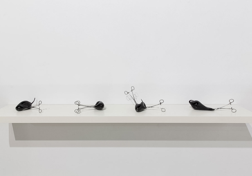 Silence part 1 (set of four), Blown glass, forceps, dimensions variable, 2014