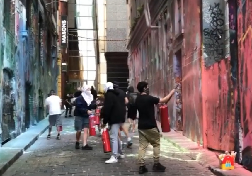Melbourne's Iconic Hosier Lane Has Been Painted Over by a Masked Group