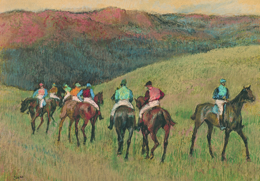 Racehorses in a landscape, 1894