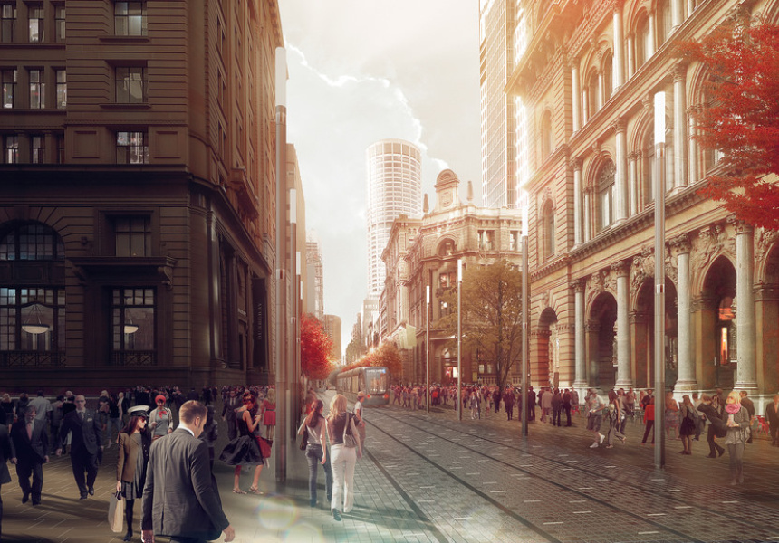 George Street at Barrack Street, artist's impression.